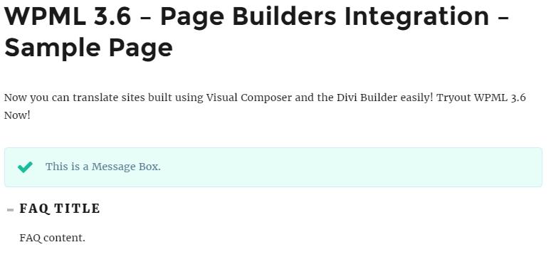 Frontend-Beispiel einer Seite, die mit Ihrem Seitenersteller erstellt wurde