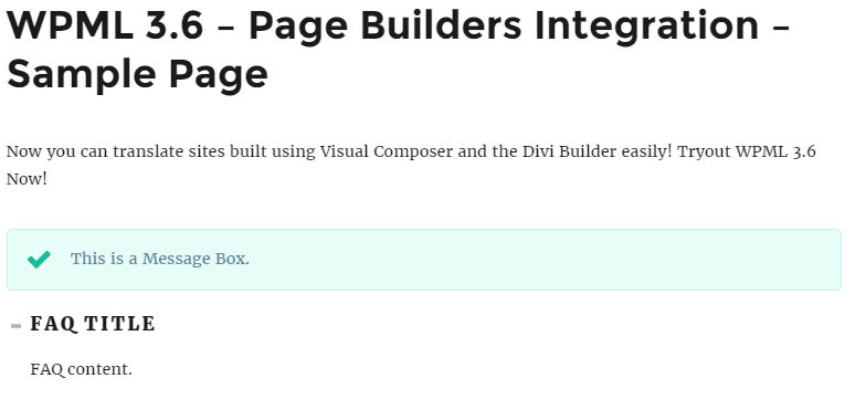 Front-end example of a page built with your page builder