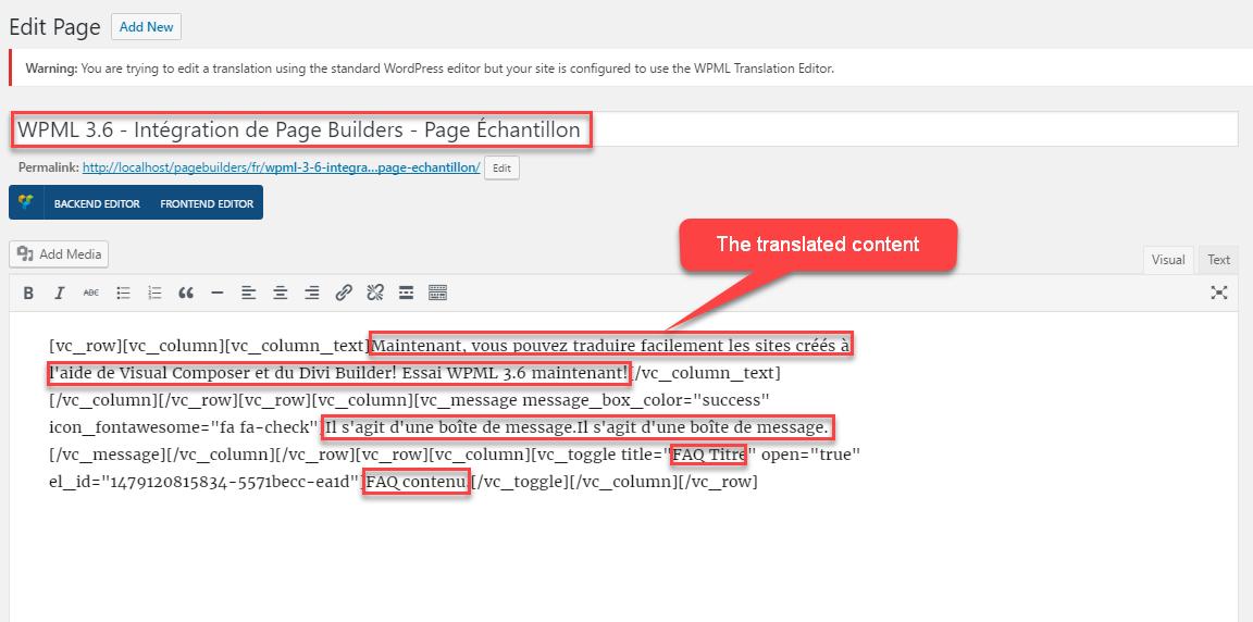 Ejemplo de código HTML de la página traducida