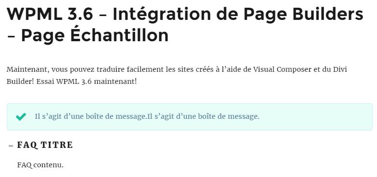 مثال على الواجهة الأمامية للصفحة المترجمة