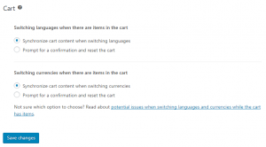 Cart options on the WooCommerce Multilingual settings page