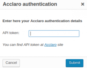 Acclaro authentication dialog window