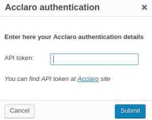 Acclaro authentication dialog window