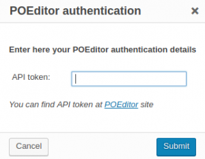 POEditor authentication dialog window