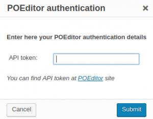 POEditor authentication dialog window