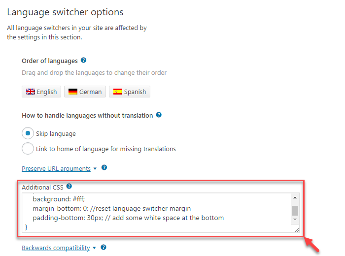 How to properly display language switcher in the footer of