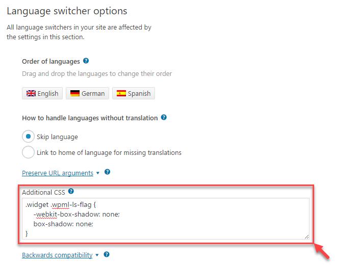 Adición de reglas CSS sencillas para mostrar adecuadamente el intercambiador de idiomas