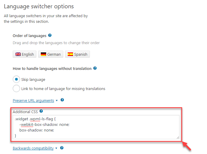 Adding simple CSS rules for proper rendering of the language switcher