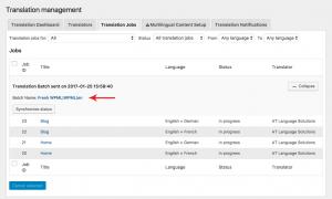 Translation Jobs in progress after being sent for translation