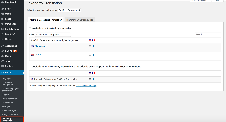 Translating Enfold Taxonomies with WPML