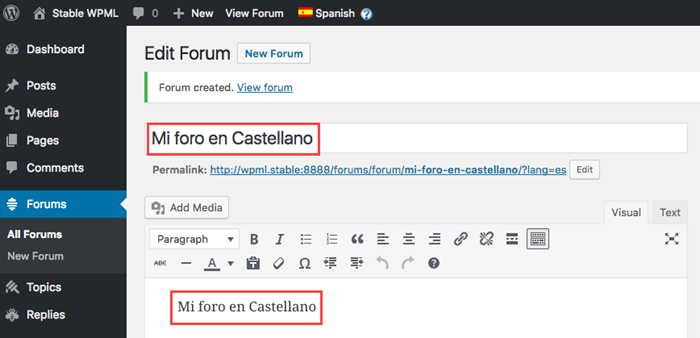 Add your translated text to the forum