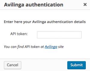 Avilinga authentication dialog window