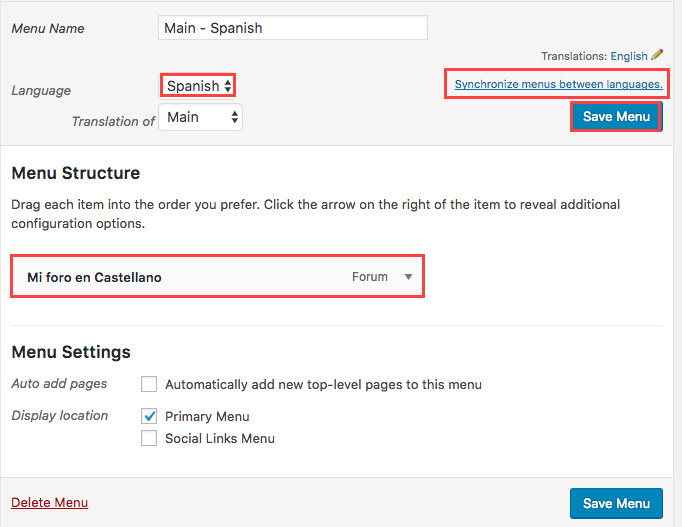 Synchronize menues between languages to add the secondary language forum to your secondary langauge menu