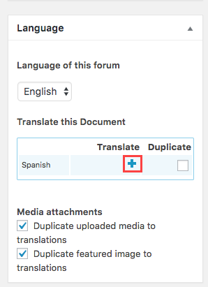 Translate the forum by clickin the plus icon in the language box