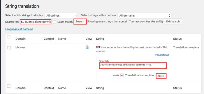 Translating bbPress strings using the String Translation