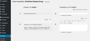Translating an event using WPML's Translation Editor