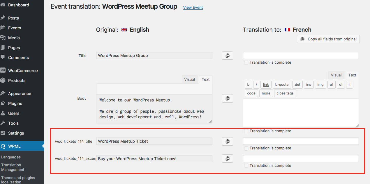 Using Event Calendar with WooCoomerce Multilingual - WPML