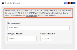 WooCommerce Stripe Gateway extension's Test mode message translation is not displayed on the front-end