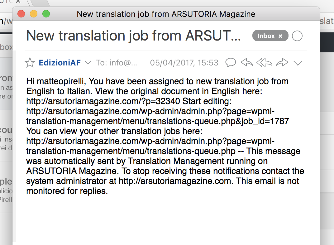 Change template of notification email to translators - WPML