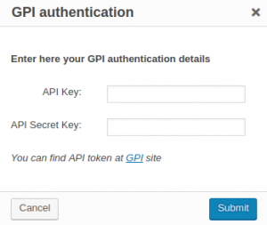 GPI authentication dialog window
