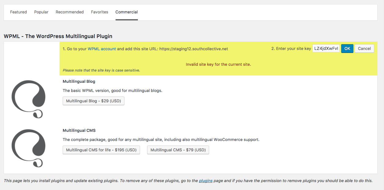 Invalid site key - WPML