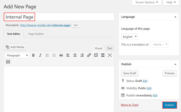Add a new page and set the page title to Internal Page