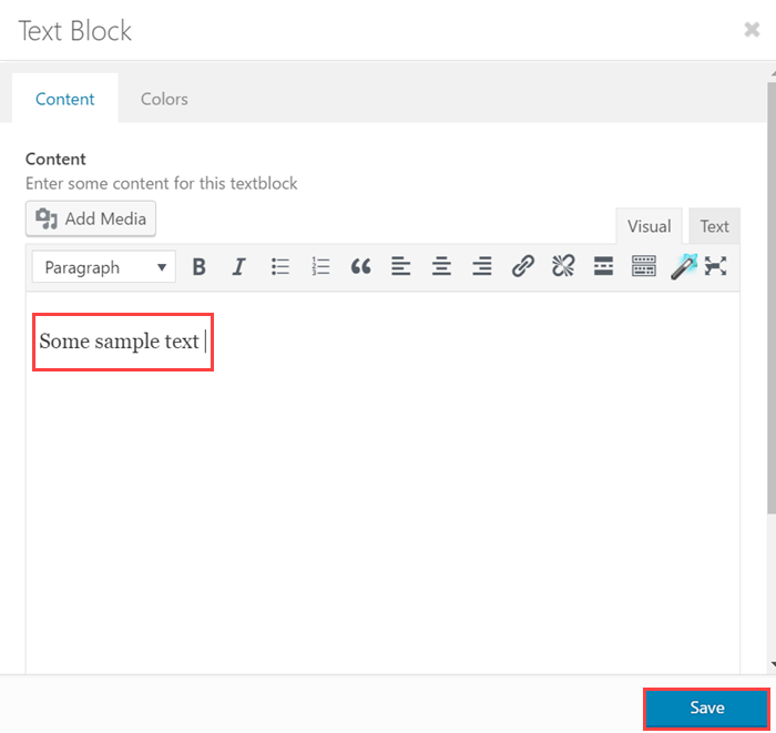 Add a text block element to a new page