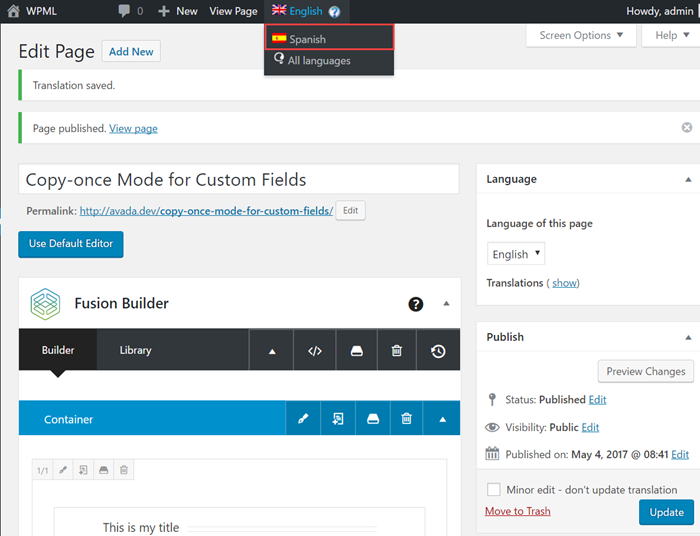 Navigate to the back-end of the secondary language page