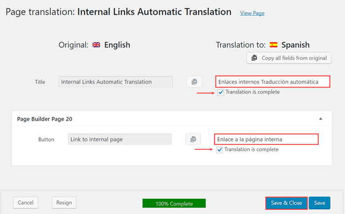 "Translate the ""Automatic link translation page"""
