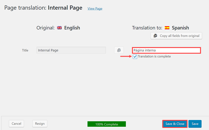 Translate the internal page and save