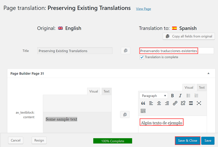 Add your translated text and save