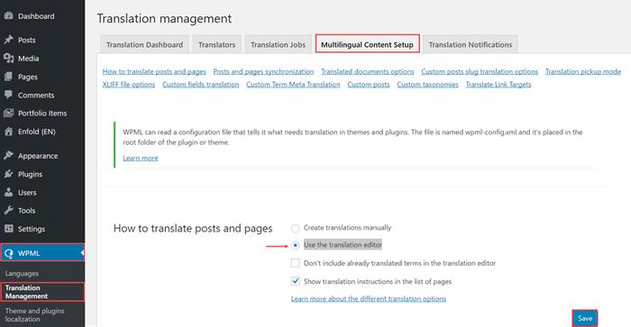 Make sure the Translation Editor option is choosen