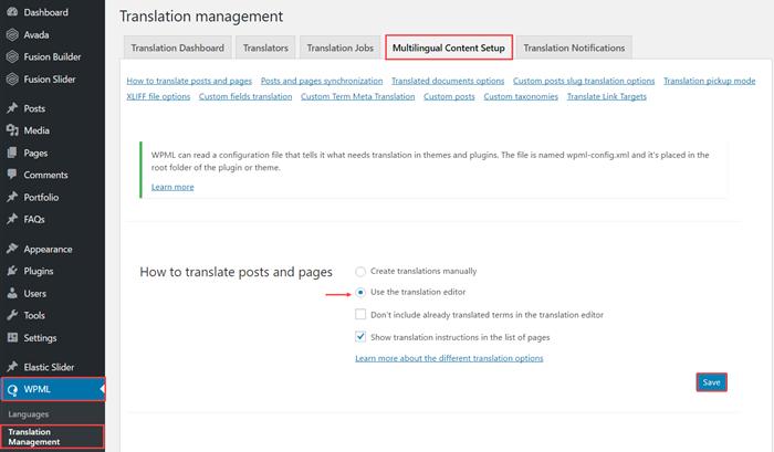 Use the translation editor