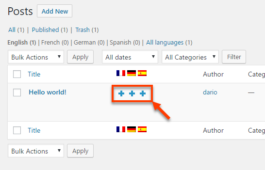 Translating the contents yourself wpml starting to translate a post yourself from the listing page starting to translate a post yourself from the editing page solutioingenieria Choice Image