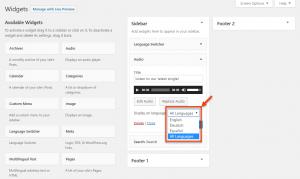 Seleccionar el idioma para el que se quiere mostrar el widget