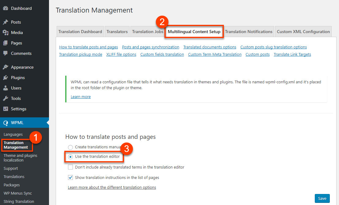 Selecting To Use WPML Translation Editor For Better Translation Experience