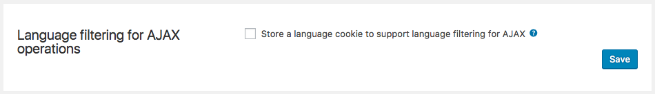 Enabling the language cookie that supports AJAX filtering on the front-end