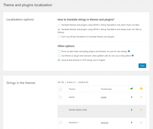 """New design of the """"Theme and plugins localization"""" page"""