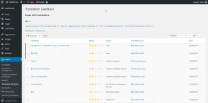 Translation Feedback page lists all the gathered feedback