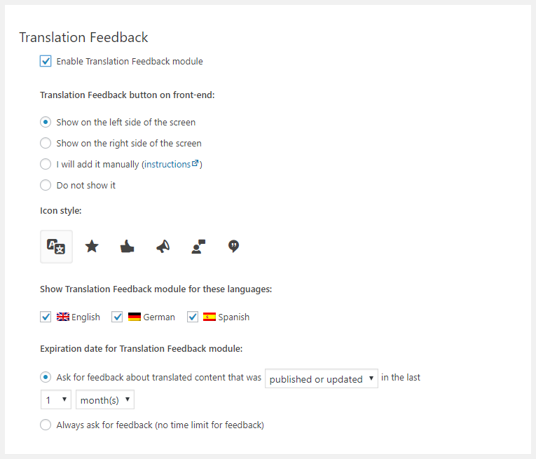Translation Feedback Settings