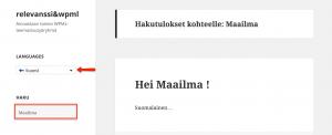 Relevanssi in Finnish with WPML