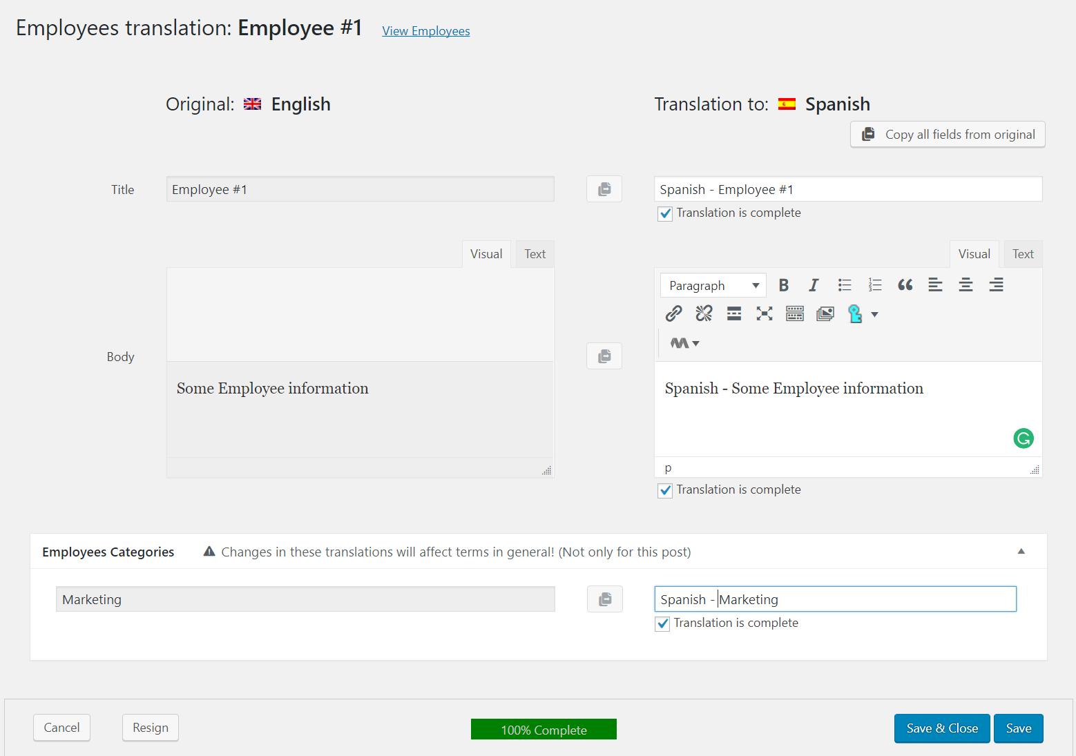 Translate the Employee item