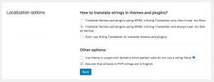 Main theme and plugins localization options