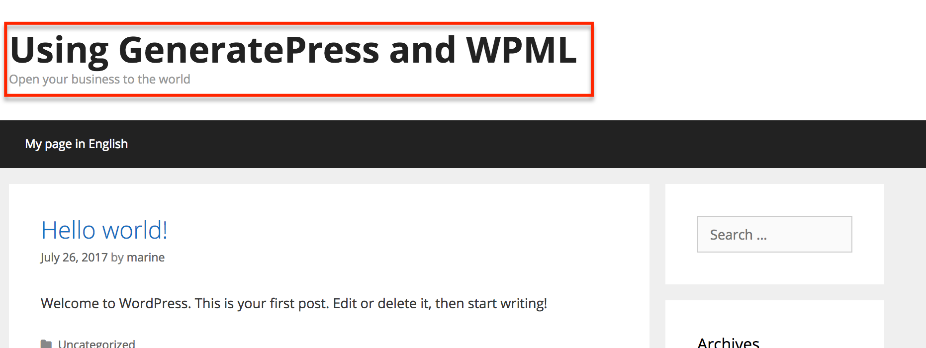 WPML and GeneratePress