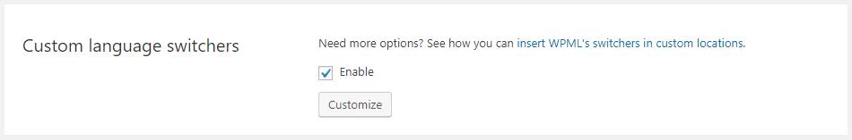可启用或禁用自定义语言切换器的选项