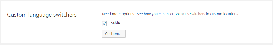Option to enable or disable custom language switchers
