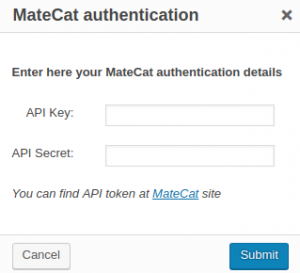 MateCat authentication dialog window