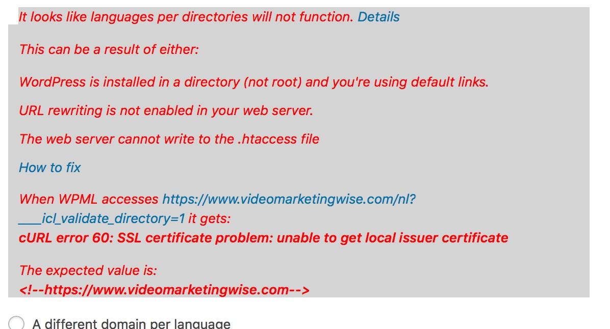 cURL error 60: SSL certificate problem: unable to get local issuer ...
