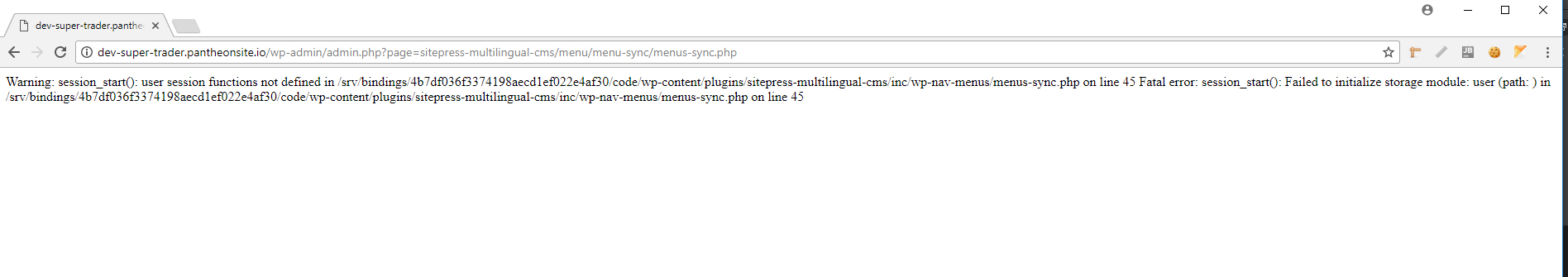 WP Menus Sync is not working  Its give me:Fatal error: session_start