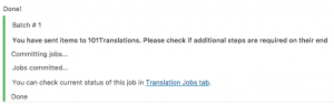 Basket contents successfully submitted to 101translations